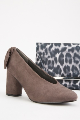 Suedette Bow Back Block Heels