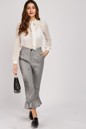 Buckled Hem Gingham Trousers