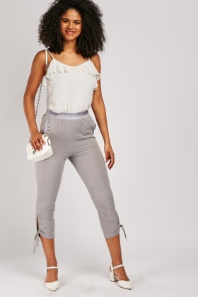 Drawstring Ankle Side Crop Trousers