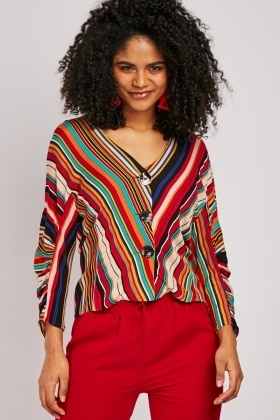 Multi-Striped Cocoon Sleeve Blouse