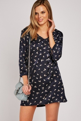 Printed Silky Tunic Dress