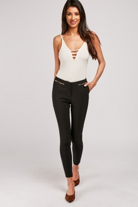 Zipper Detail Skinny Trousers