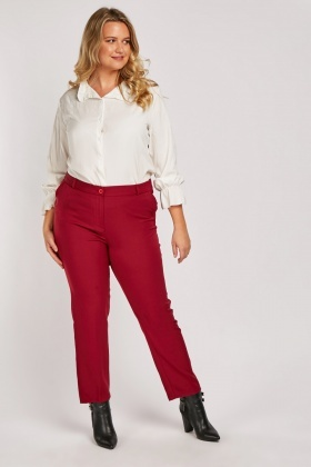 High Waisted Straight Fit Trousers