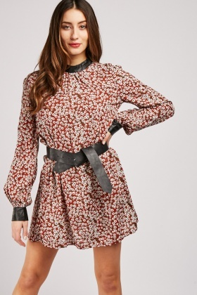 Calico Printed Belted Dress