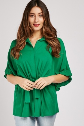 Frilly Sleeve Drawstring Blouse