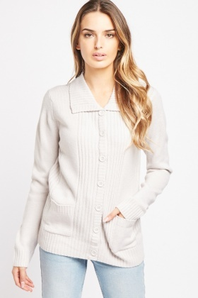 Ribbed Panel Button Front Cardigan