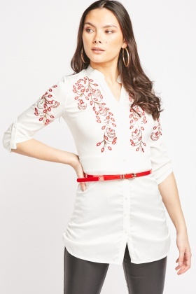 Sequin Embroidered Shirt