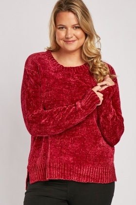 Chenille Knit Round Neck Jumper