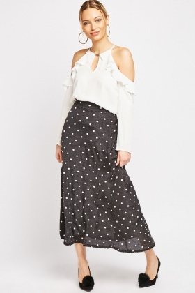 Polka Dot Maxi Rib Skirt