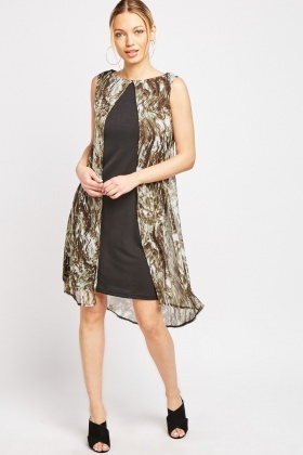 Printed Chiffon Overlay Dress