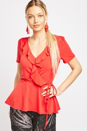 Red Ruffle Front Wrap Top