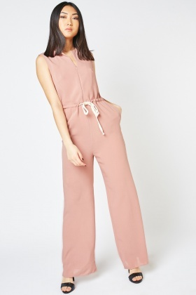 Drawstring Waist Plain Jumpsuit