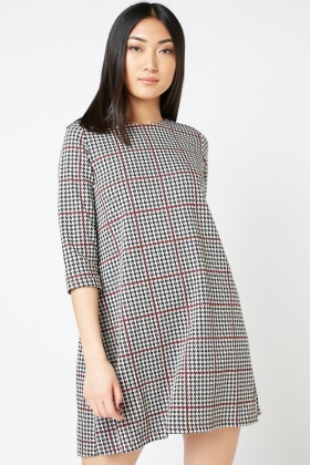 Houndstooth Print Swing Dress