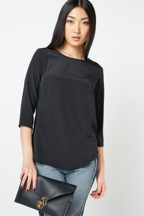 Sheer Textured 3/4 Sleeve Blouse