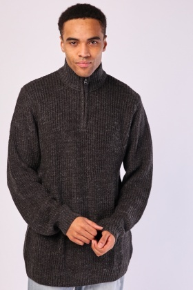 Zipped Neck Mens Jumper
