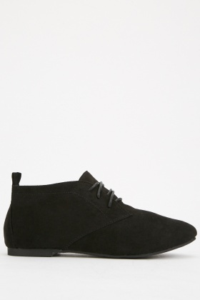 Brushed Suedette Lace Up Textured Shoes
