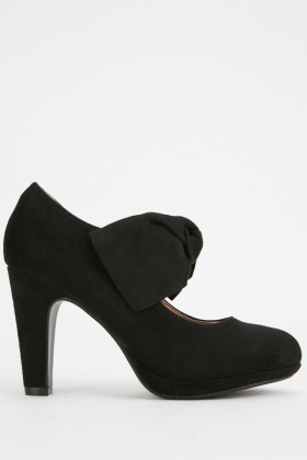 Knotted Suedette Heeled Pumps