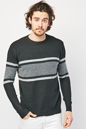 Crew Neck Striped Panel Jumper