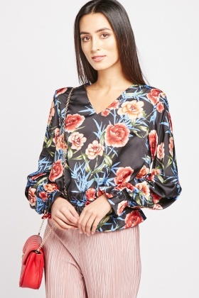Floral Gathered Sleeve Blouse