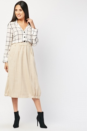 Gathered Hem Textured Midi Skirt