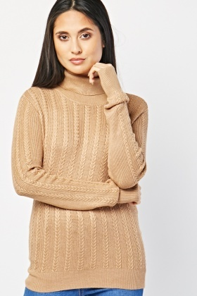 Ribbed Trim Cable Knit Roll Neck Jumper