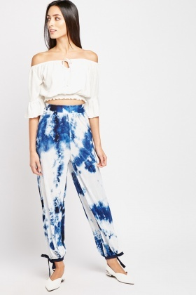 Tie-Dyed Plisse Trousers