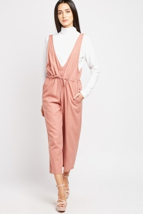 V-Neck Pinafore Jumpsuit