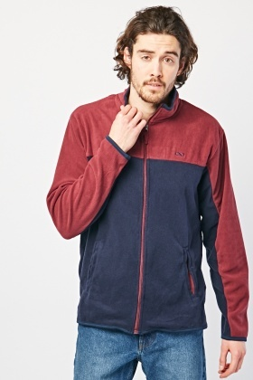 Zip Up Colour Block Fleece Jacket