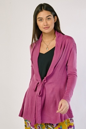 Tie Up Ribbed Front Cardigan