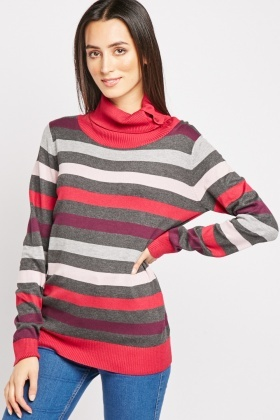 Roll Neck Multi-Stripe Jumper