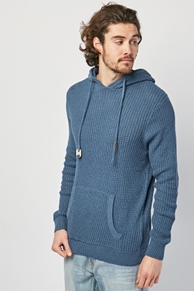 Textured Hooded Knit Jumper