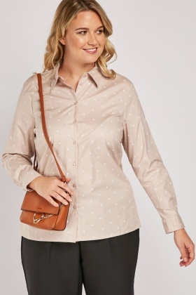 Anchor Print Nude Shirt