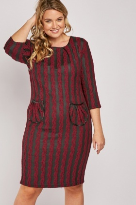 Double Pocket Front Textured Dress
