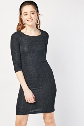 Textured Round Neck Bodycon Dress