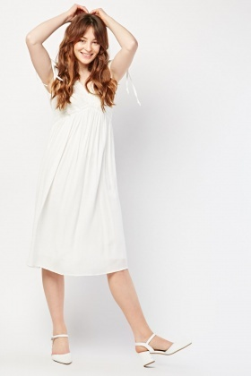 Tie Up Sleeve Crochet Trim Dress
