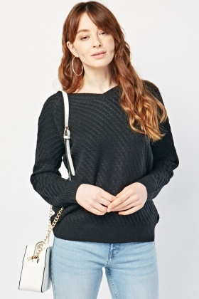 V-Neck Textured Knit Sweater