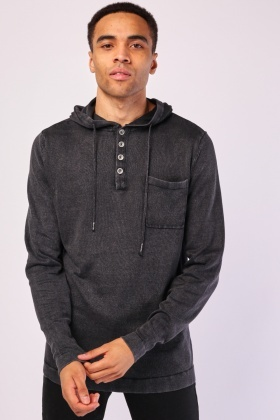 Washed Out Hooded Knit Jumper