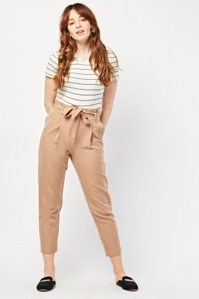 Belted Beige Paper-Bag Trousers