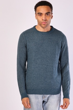 Plain Textured Knit Jumper