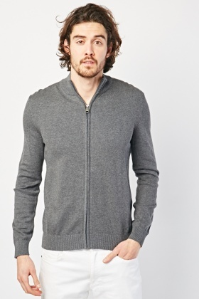 Plain Zip Up Knit Cardigan