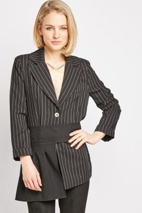 Pleated Skirt Panel Blazer