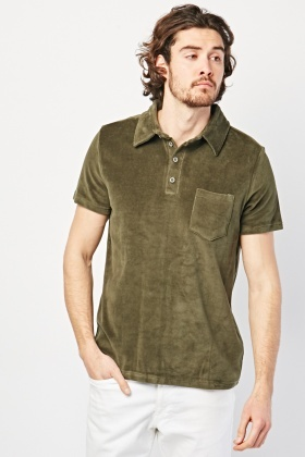 Short Sleeve Velour Polo Shirt