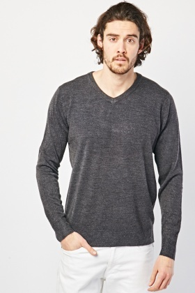 V-Neck Charcoal Knit Sweater