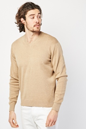 V-Neck Ribbed Edging Jumper