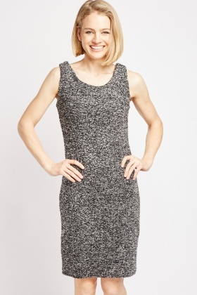 Bobble Textured Tweed Shift Dress