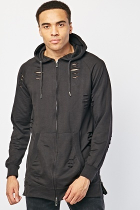 Heavily Distressed Zip Up Hoodie