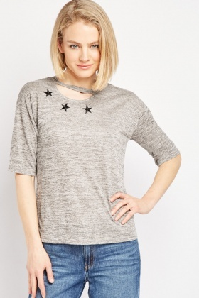 Star Embroidered Keyhole Top