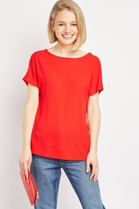 Tie Up Back Red Shell Top