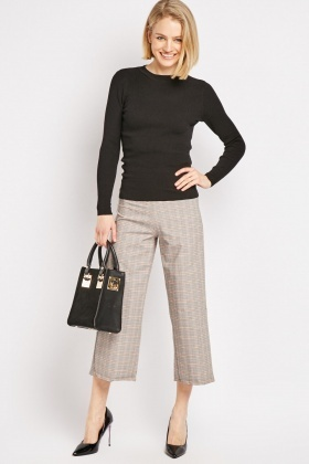 Wide Leg Crop Plaid Trousers