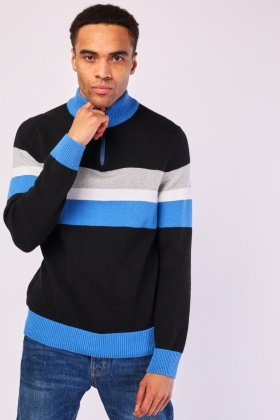 Zipped Neck Colour Block Jumper